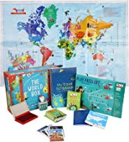 CocoMoco Kids World Box Learn Geography with Activity Box for Kids with World Map Activity Kit, Passport, Scrapbook, Country