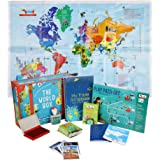 CocoMoco Kids World Box Learn Geography with Activity Box for Kids with World Map Activity Kit, Passport, Scrapbook, Country Trump Cards Educational STEM Toy for Age 5-12 Years (Multicolour)