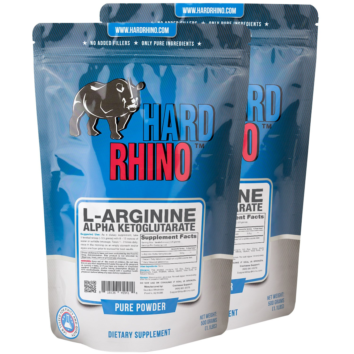 Hard Rhino L-Arginine Alpha Ketoglutarate AAKG Powder, 1 Kilogram 2.2 Lbs , Unflavored, Lab-Tested, Scoop Included