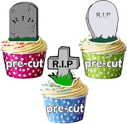 Precortado Halloween RIP tumba decoración comestible cupcake/decoración para tarta, (Pack de 24): Amazon.es: Hogar