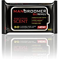 MANGROOMER Biz Wipes Flushable Moist Personal Wipes Engineered for Men, Executive Scent, 50 Wipes (Pack of 6)