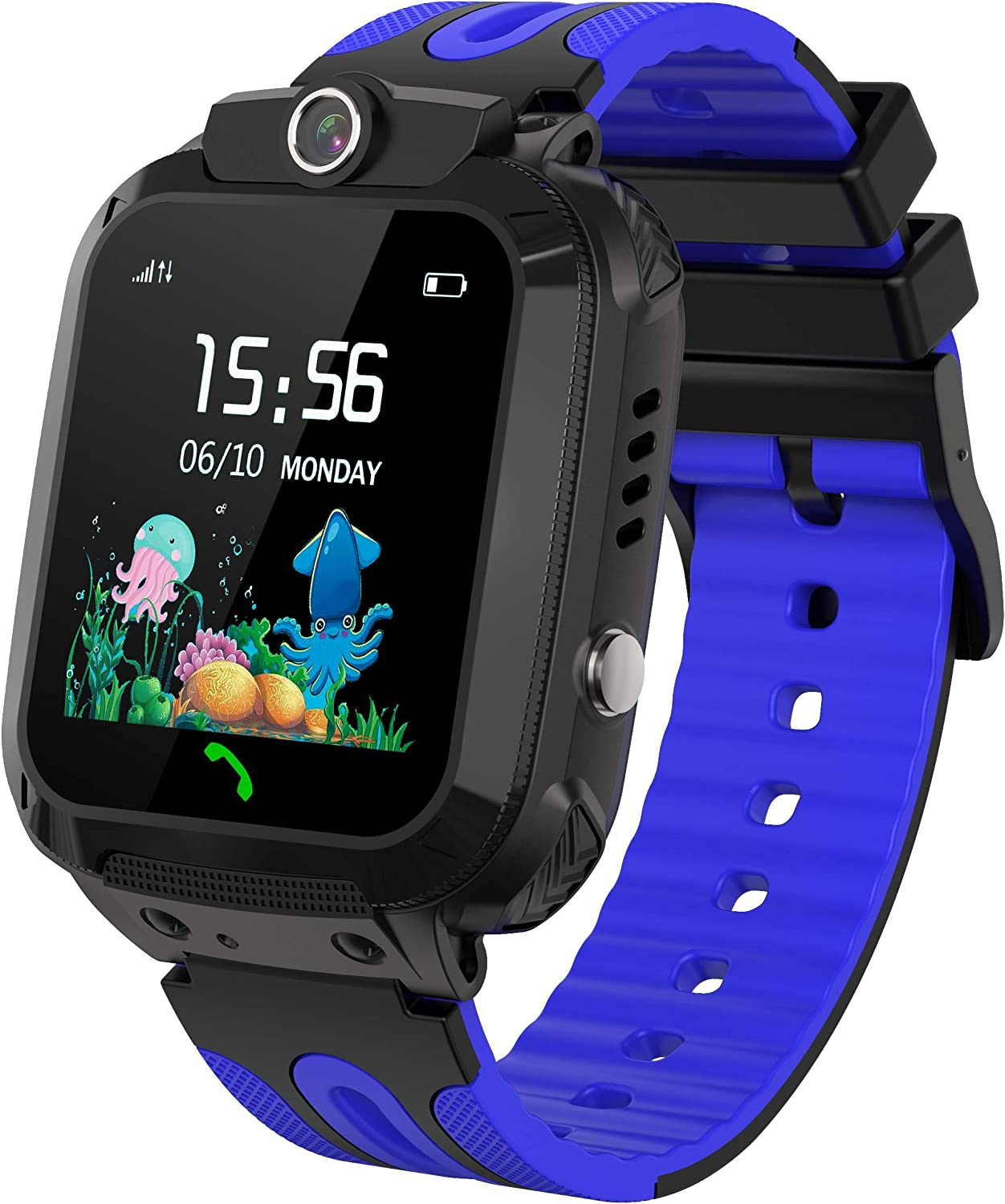 Kids Smart Watch Waterproof with GPS Tracker Phone Smartwatch SOS Game Voice Chat 1.44'' Touch Screen for Boys Girls Birthday Gift (Red) (Blue)