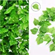 Shopicoo® (Pack of 6 Strings - 8 Ft. Each) Artificial Grape Leaves Ivy Vine Garland Hanging Greenery for Home Office Wall Window Decoration. Fake Plastic Plants Best for Creative Decoration