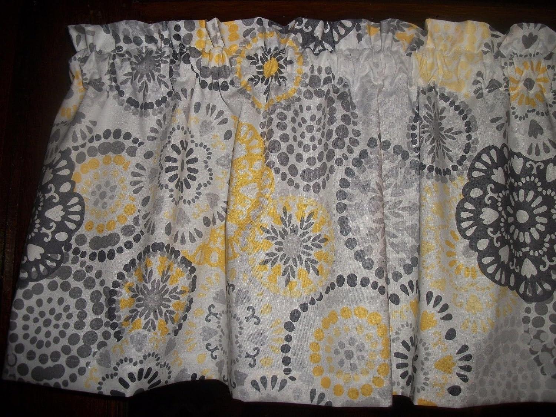 Gray Yellow Circle Polka Dot retro waverly fabric kitchen curtain topper Valance 42' by 13