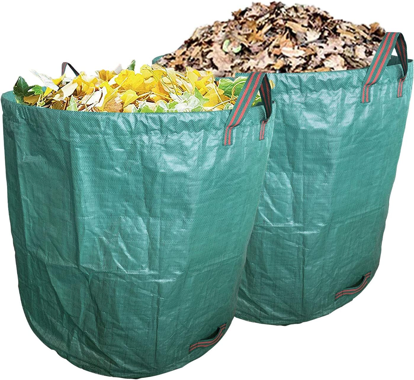 Ugold 2-Pack Garden Bag, Reusable Yard Waste Bag, Leaf Bag, Work for Garden, Lawn and Patio, Clean Up Leaves and Waste (2-Pack 132 Gallons)