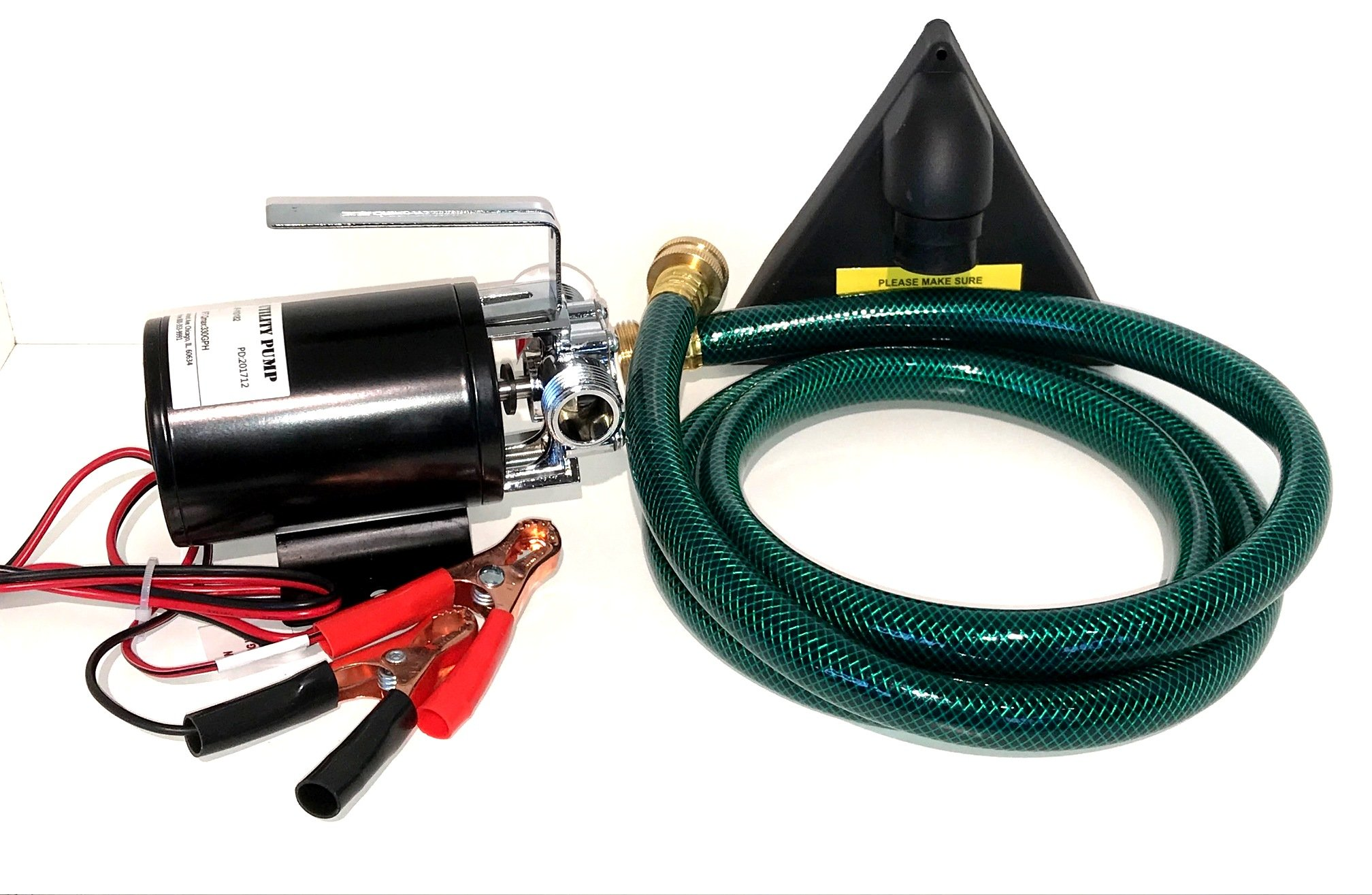 12-volt DC 1/10th HP 330 GPH Battery Powered Portable Mini Water Transfer Utility Pump with Metal Connectors for Standard 3/4'' Garden Hose Great for removing water from Boats Water Yard or Garden