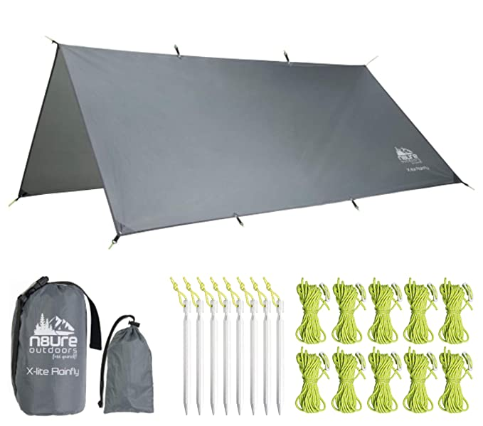 Hammock Rainfly Tarp Premium 10x10' Square Ultralight Ripstop Nylon Waterproof Outdoor Tent Camping Shelter Backpack Hike Travel Bushcraft Survival Gear Includes Stakes Ropes Stuff Sacks