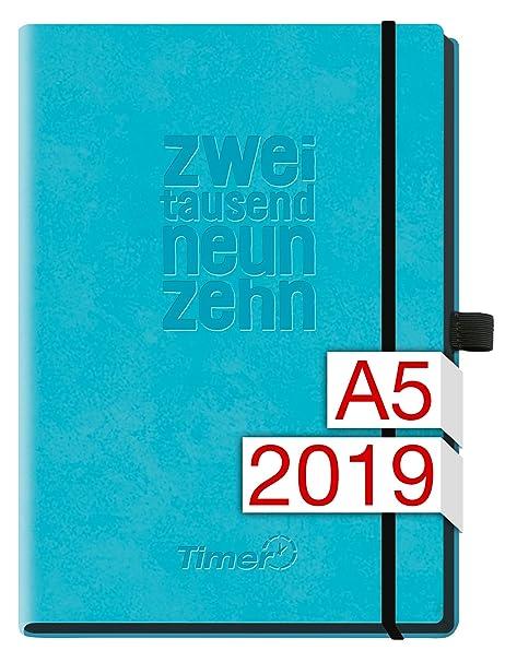 Chäff-Timer Deluxe A5 Kalender 2019 [blau] 12 Monate Jan-Dez 2019 - Gummiband, Einstecktasche - Terminkalender mit Wochenplaner - Organizer – Wochenkalender