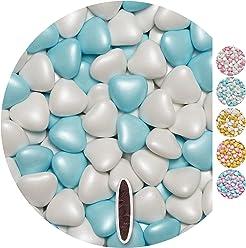 EinsSein Schokoherzen Pearl Mix 1kg weiß-hellblau Schokodragees Herzen Candybar Hochzeitsmandeln griechische