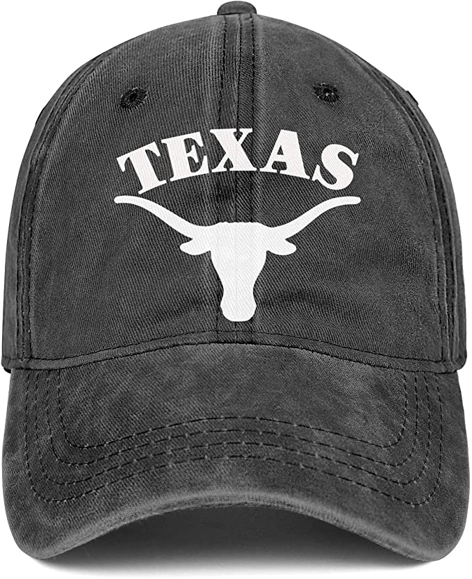 Texas Longhorns Cliparts Logo Symbol Cap Cowboy Hat Unisex Custom Sports Denim Hats