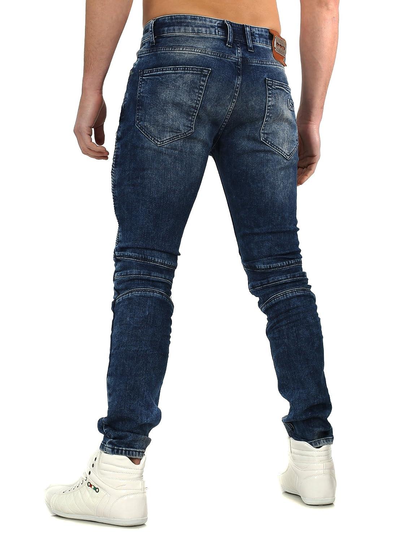 VSCT Herren Jeans Destroyed SAMPDORIA Vintage Waschung Slim Fit Schnitt  Biker Look: Amazon.de: Bekleidung