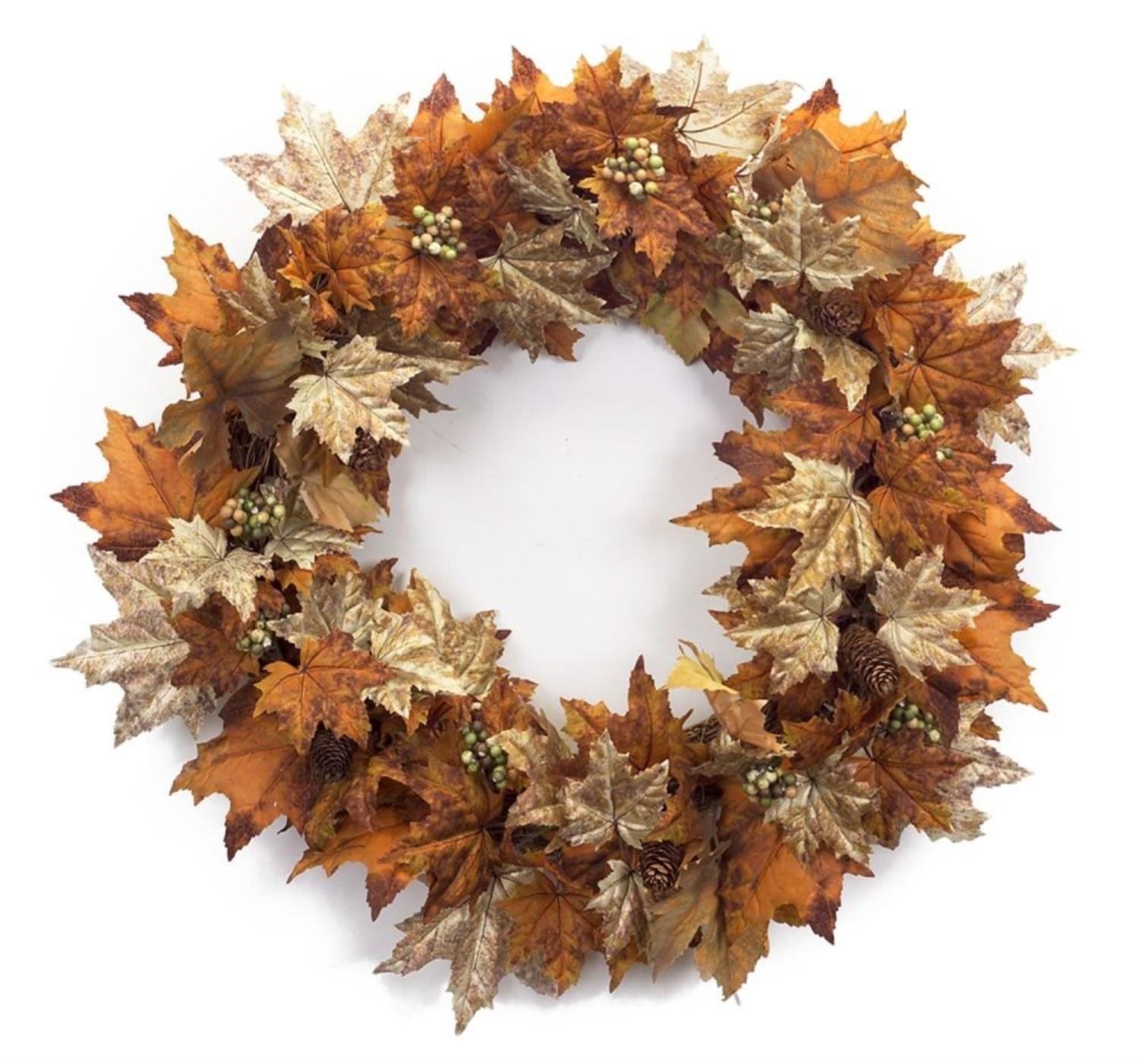 """Melrose Pack of 2 Decorative Orange and Brown Autumn Leaf Wreath with Mini Grapes and Pinecones 30"""""""