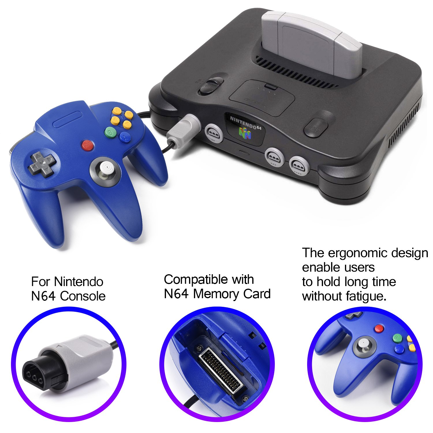 2xClassic N64 Controller,kiwitata Retro Wired Gamepad Controller Joystick for N64 Console Video Games System Red+Blue by kiwitata (Image #5)