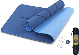 "UMINEUX Yoga Mat Non Slip, 1/4"" Pilates Fitness Mats with Alignment Marks, Eco Friendly, Anti-Tear Yoga Mats for Women, Exercise Mats for Home Workout with Carrying Strap & Storage Bag"
