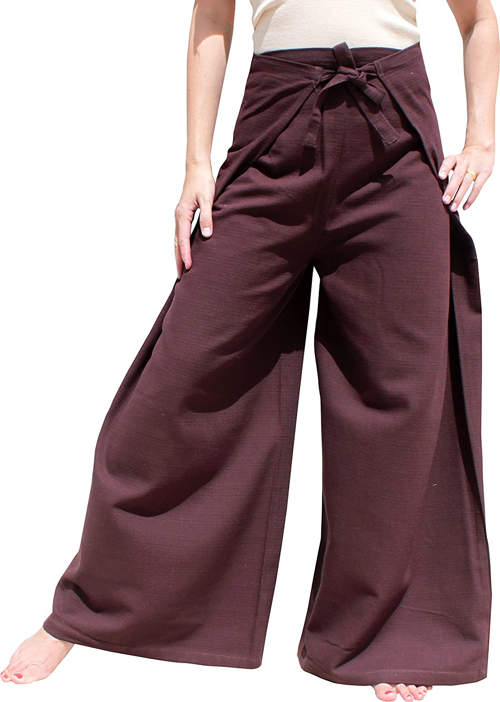 Chenamai Cotton  Dark Sienna Brown RaanPahMuang Wide Leg Wrap Waist Tied Casual Toraijin Pants in Cottons