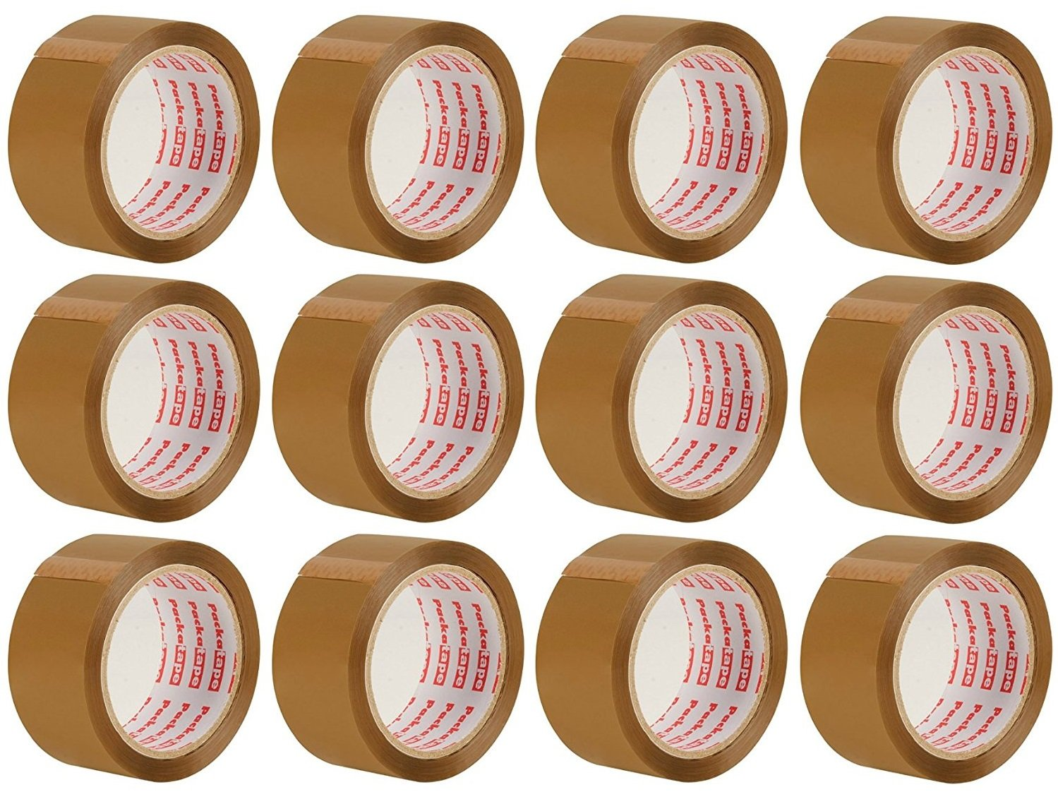 Packatape Brown Packaging Tape for Parcels and Boxes. This 12 roll pack of Heavy Duty Brown Packing Tape Provides a Strong, Secure and Sticky Seal for your Boxes - 12 Rolls 48MM x 66M