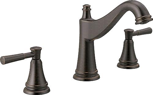 Delta Faucet Mylan Widespread Bathroom Faucet 3 Hole, Bronze Bathroom Faucet, Drain Assembly, Worry-Free Drain Catch, Venetian Bronze 35777LF-RB
