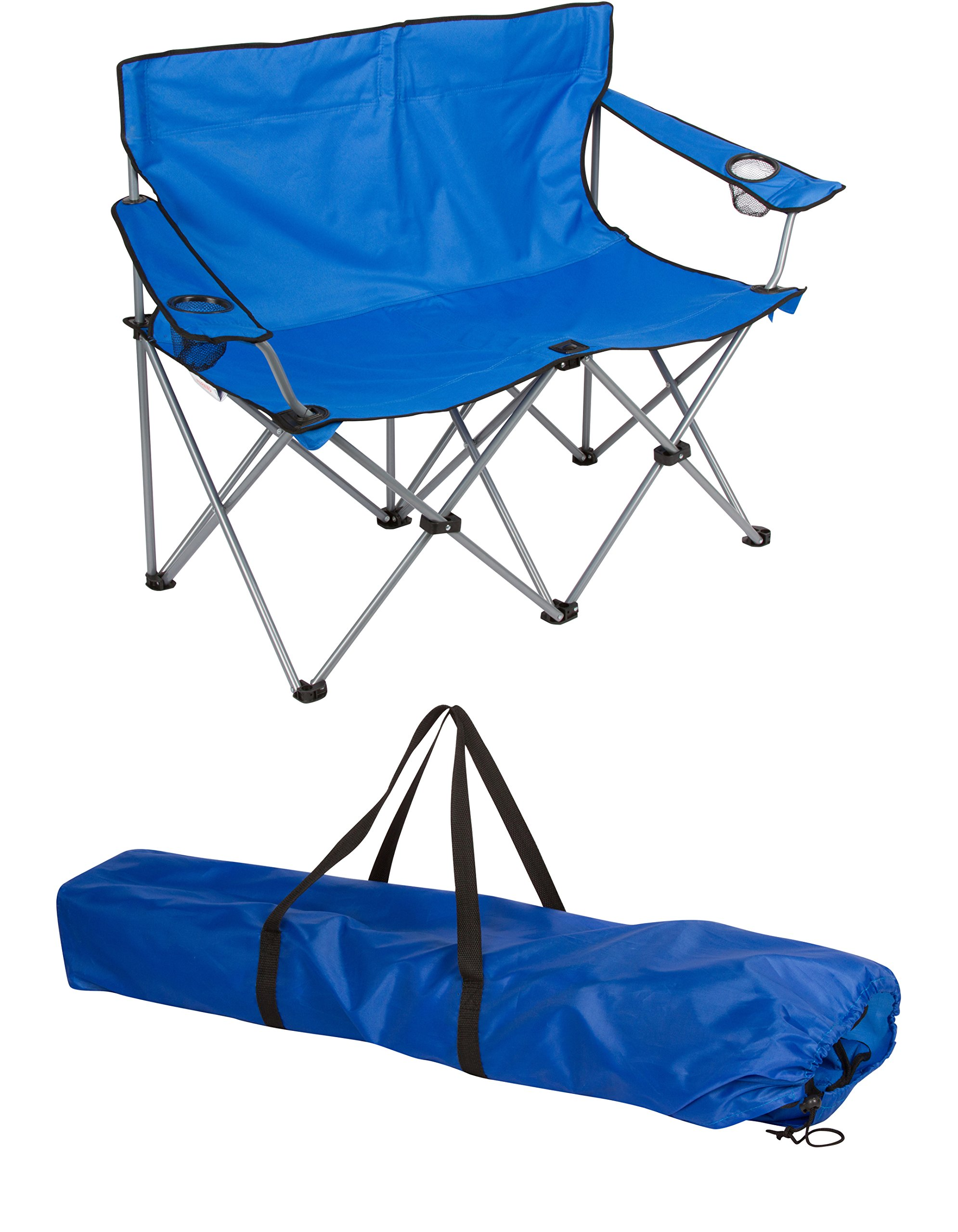 Loveseat Style Camp Chair - Steel Frame - Double Seater - by Trademark Innovations (Blue, 31.5''H) by Trademark Innovations (Image #1)