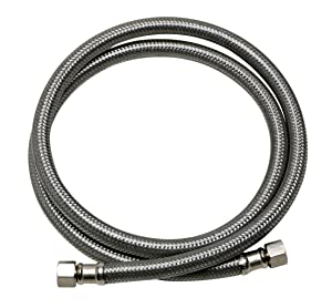 Fluidmaster B6W48 Dishwasher Connector With 1/2-Inch Elbow Fitting, Braided Stainless Steel - 3/8 Female Compression Thread x 3/8 Female Compression Thread, 4 Ft. (48-Inch) Length