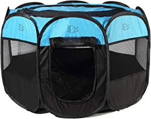 Rarasy Pet Playpen - Indoor Outdoor Mesh Open-Air Playpen and Exercise Pen Tent House Playground for Dogs and Cats