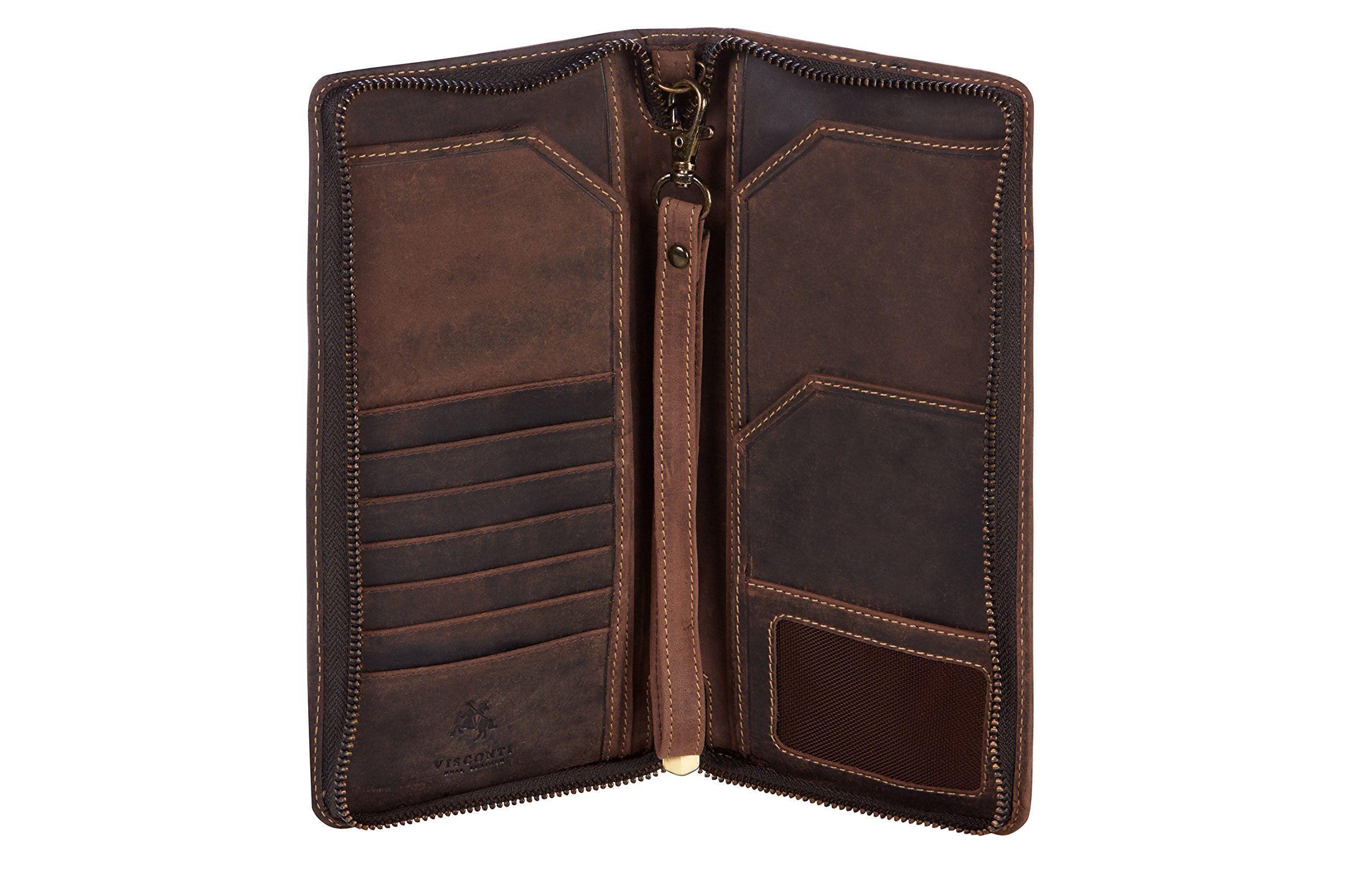 Visconti 728 Large Distressed Leather Travel Wallet for Passports, Tickets and Credit Cards (Brown)