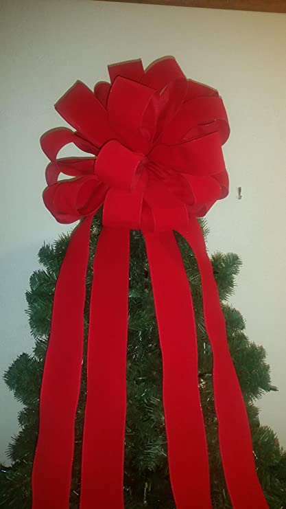 15 inch 7 ft streamers red velvet christmas tree topper bow wired ribbon