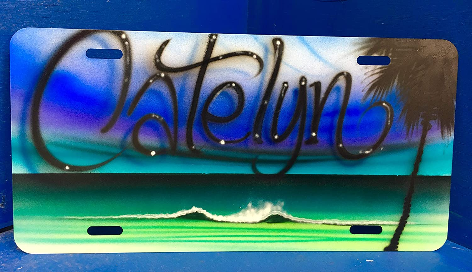 Blues and Greens Beach Scene Personalized Airbrush Aluminum Car tag