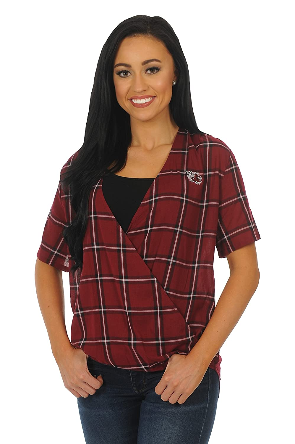 NCAA Womens Short Sleeve Plaid Wrap Top