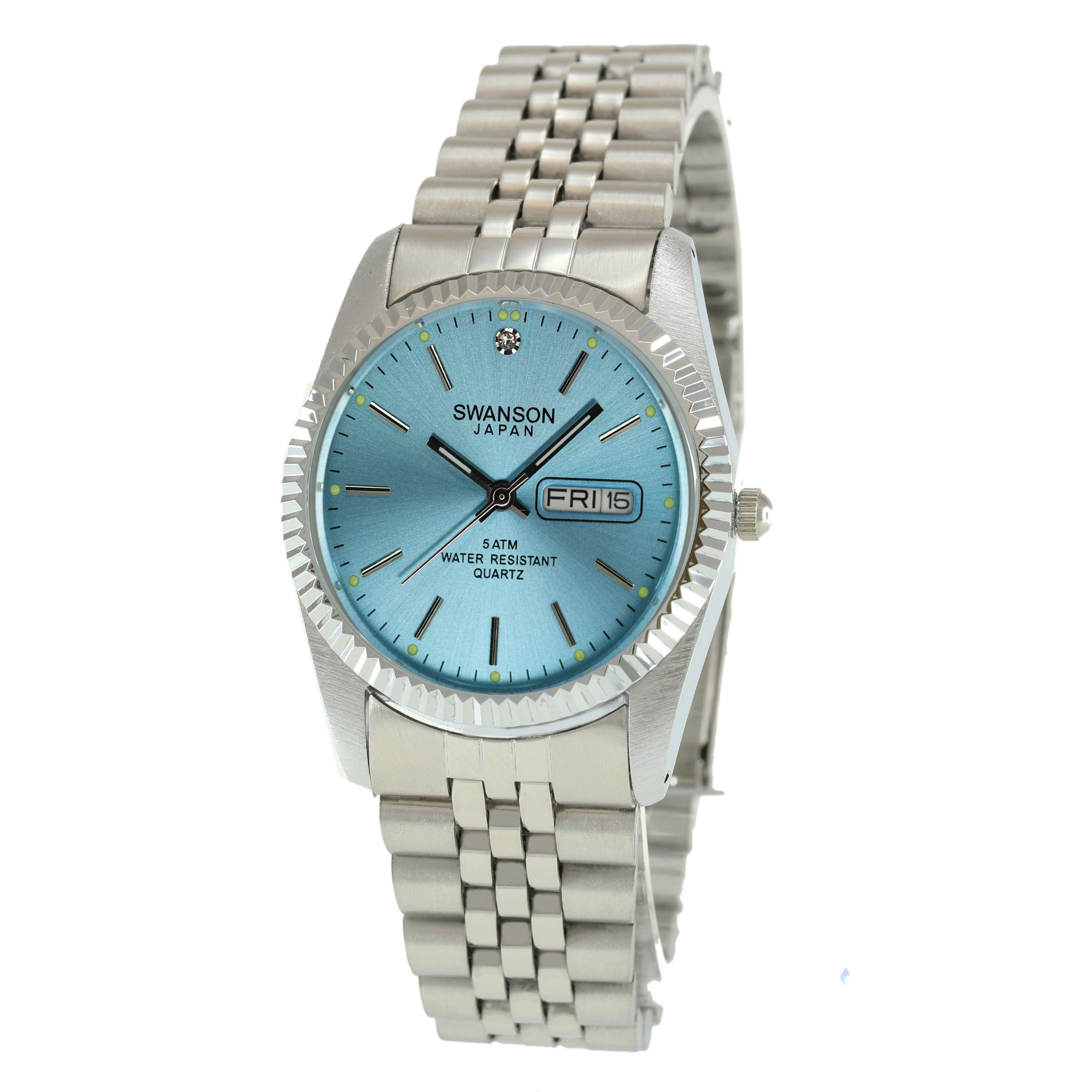 Swanson Japan Men's Silver Day-Date Ice Blue Index Dial Watch with Travel Case