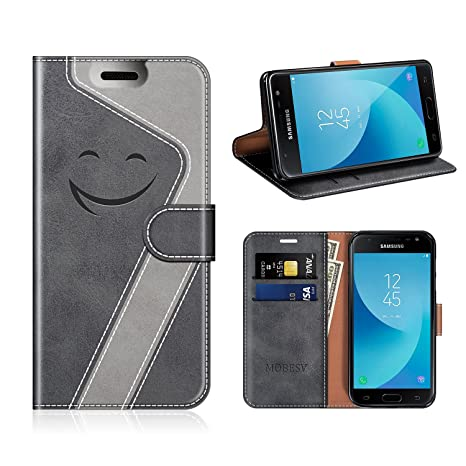 MOBESV Smiley Funda Cartera Samsung Galaxy J7 2017 Magnético, Funda Cuero Movil Samsung J7 2017 Carcasa Case con Billetera/Soporte para Samsung Galaxy ...