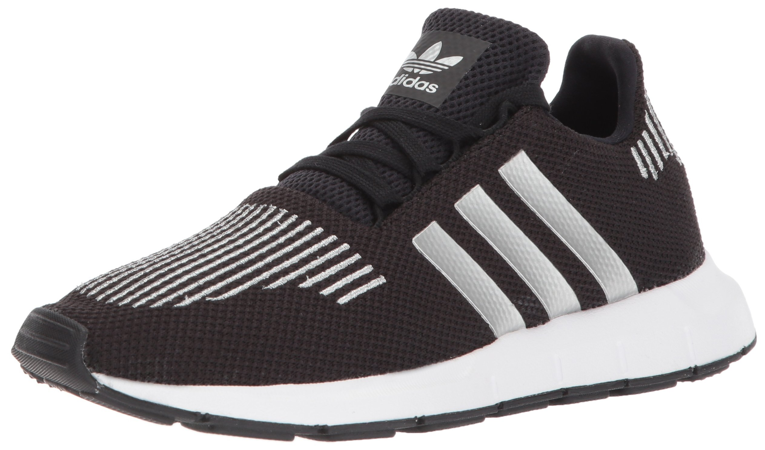 adidas Originals Boys' Swift J Running Shoe, core Black/Metallic Silver/White, 4.5 M US Big Kid