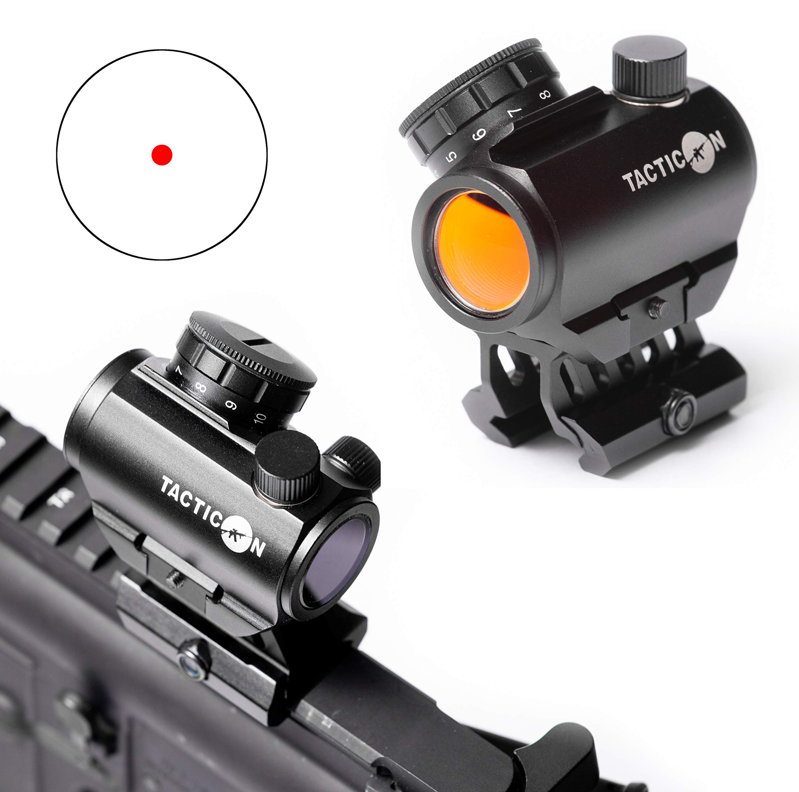 Predator V3 Micro Red Dot Sight   Combat Veteran Owned Company   45 Degree Offset Mount and Riser Mount Included   Reflex Rifle Optic With 11 Adjustable Brightness Settings   Reddot Gun Scope by Tacticon