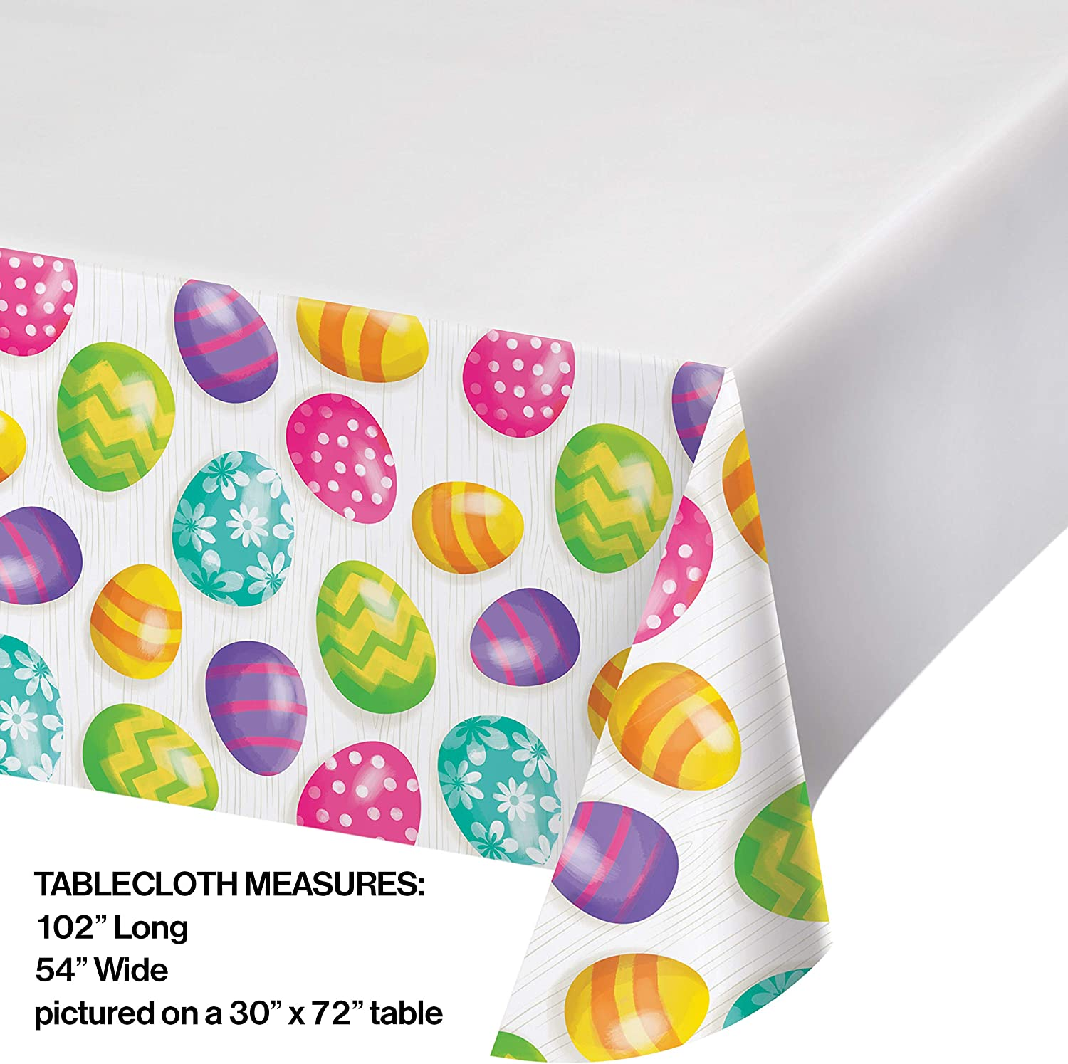 Creative Converting Easter Eggs Plastic Tablecloths 54 X 102 Multi Colored Kitchen Dining