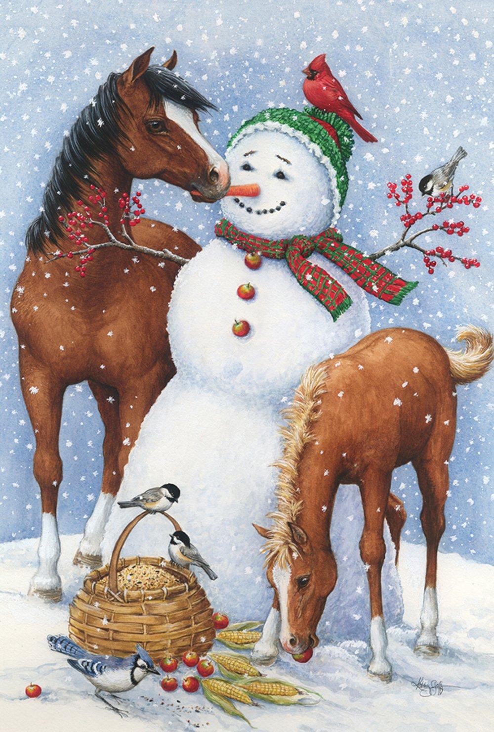 Toland Home Garden Snowman Pasture 28 x 40 Inch Decorative Winter Horse Farm House Flag - 1010475