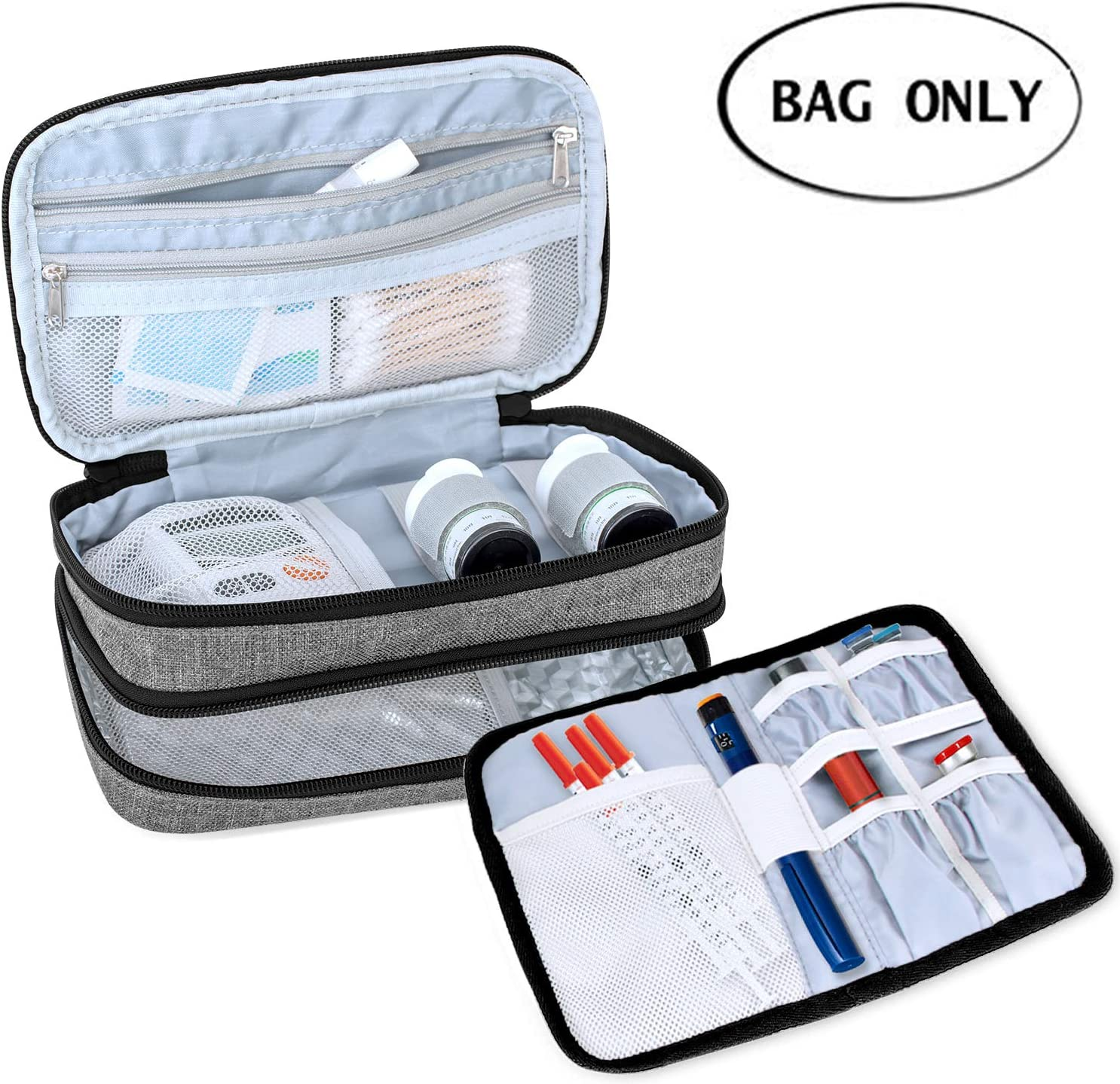 Luxja Insulin Travel Case, Double Layer Insulin Bag for Insulin Pens, Glucose Meter and Other Diabetic Supplies (Bag Only), Gray