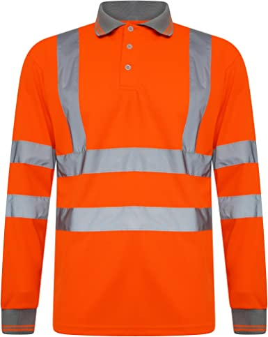 Boys High Visibility Crew Neck Shirt Mens Reflective Safety Security Work Top