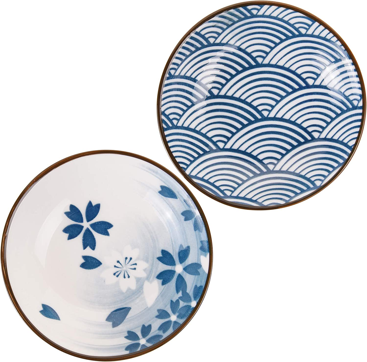 Beautyflier Set of 4 Ceramic Sauce Dish Soy Sauce Dipping Bowls Appetizer Plates Side Dishes Serving Dish Japanese Style Dinnerware Set Floral pattern