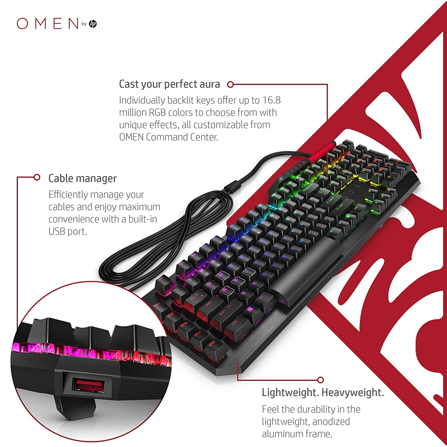 OMEN by HP Sequencer Wired USB Mechanical Optical Gaming Keyboard – 10x  Faster – Blue Switch - Volume Roller Bar – 16 8M RGB Colors – Anti
