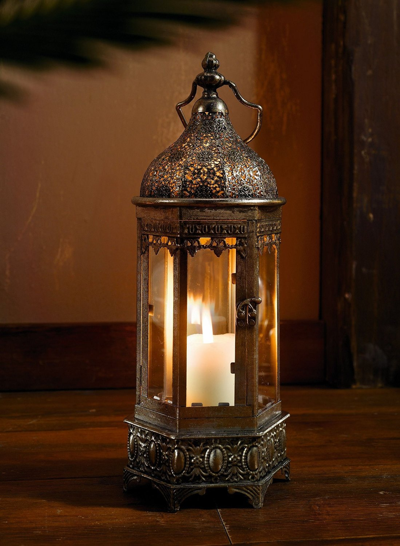 PierSurplus 16.5 in. Tall Metal Oriental-Style Hexagonal Hanging Candle Lantern Product SKU: CL221901