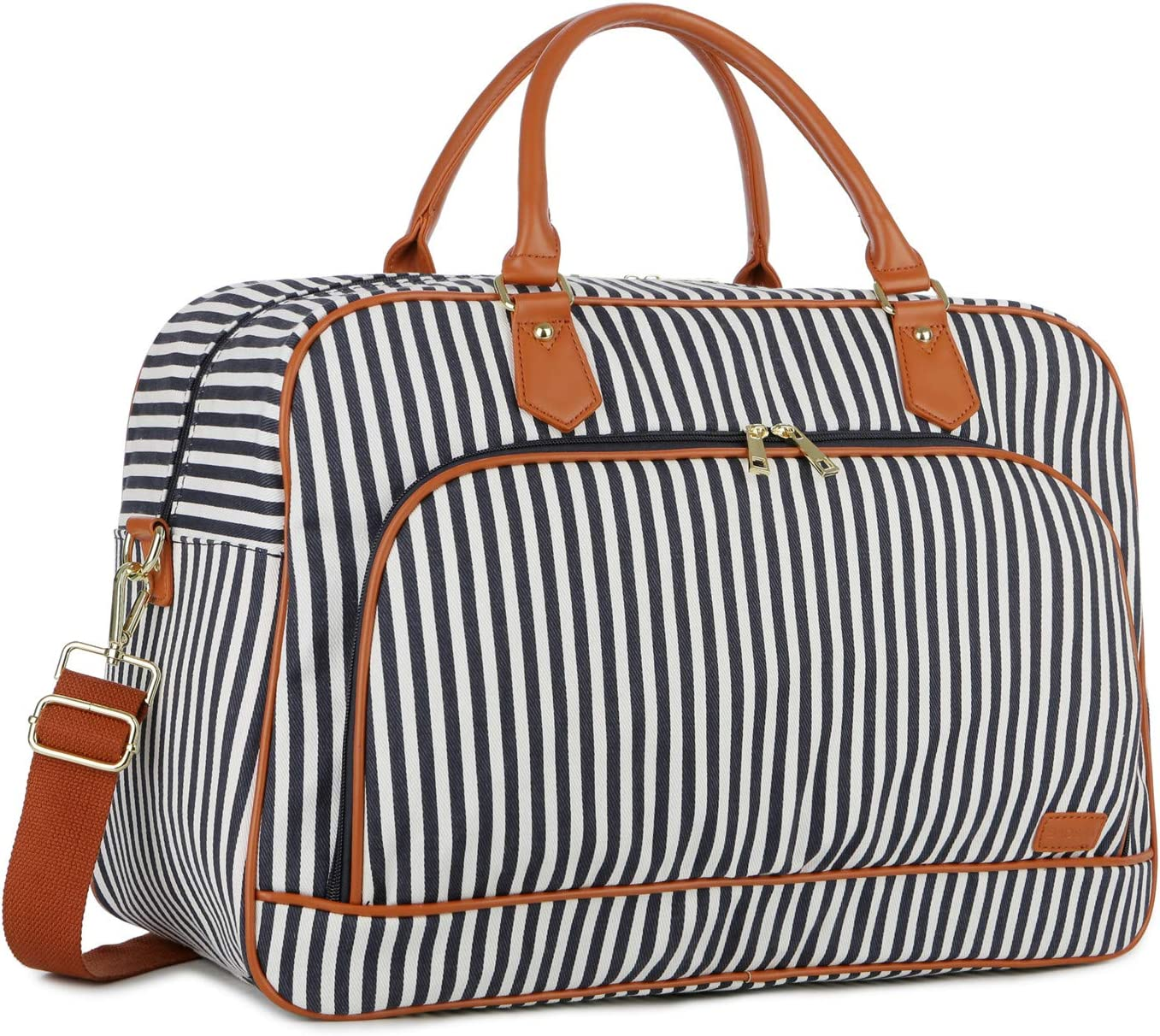 BAOSHA Large Canvas Travel Tote Duffel Bag Carry on Weekender Overnight Bag for Women HB-35 Blue Striped