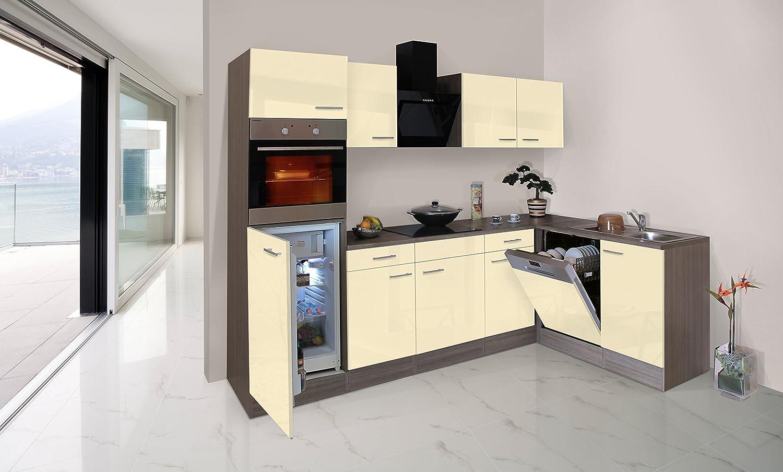 respekta Economy L-Form Winkel Küche Küchenzeile Eiche York vanille 280x172cm