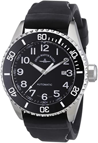 9d10bdeb91157 Zeno Watch Basel Men's Automatic Watch Diver 6492-a1-1 with Leather Strap:  Amazon.co.uk: Watches