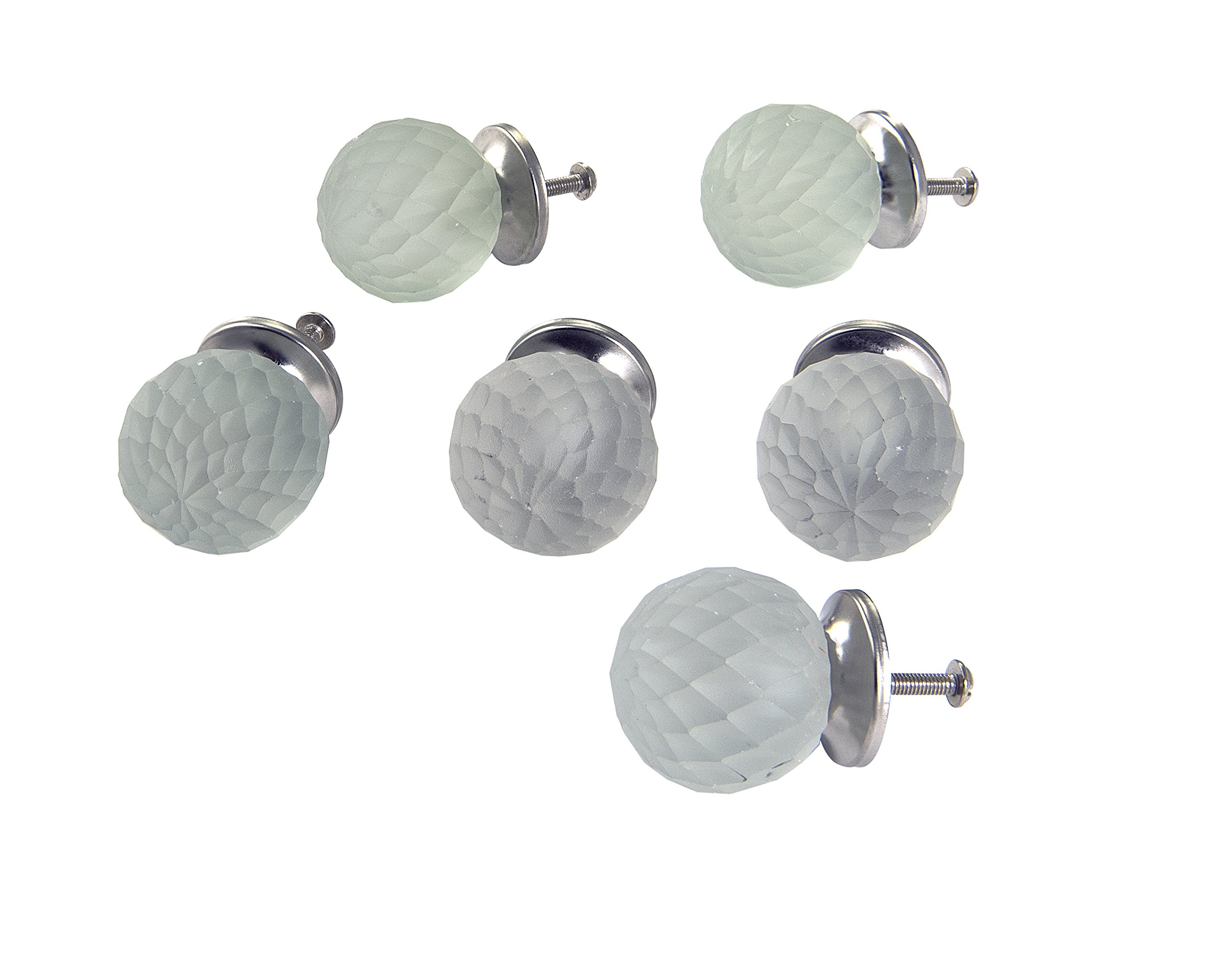 Dritz Home 47024A Frosted Glass Faceted Ball Knob Handcrafted Knobs for Cabinets & Drawers