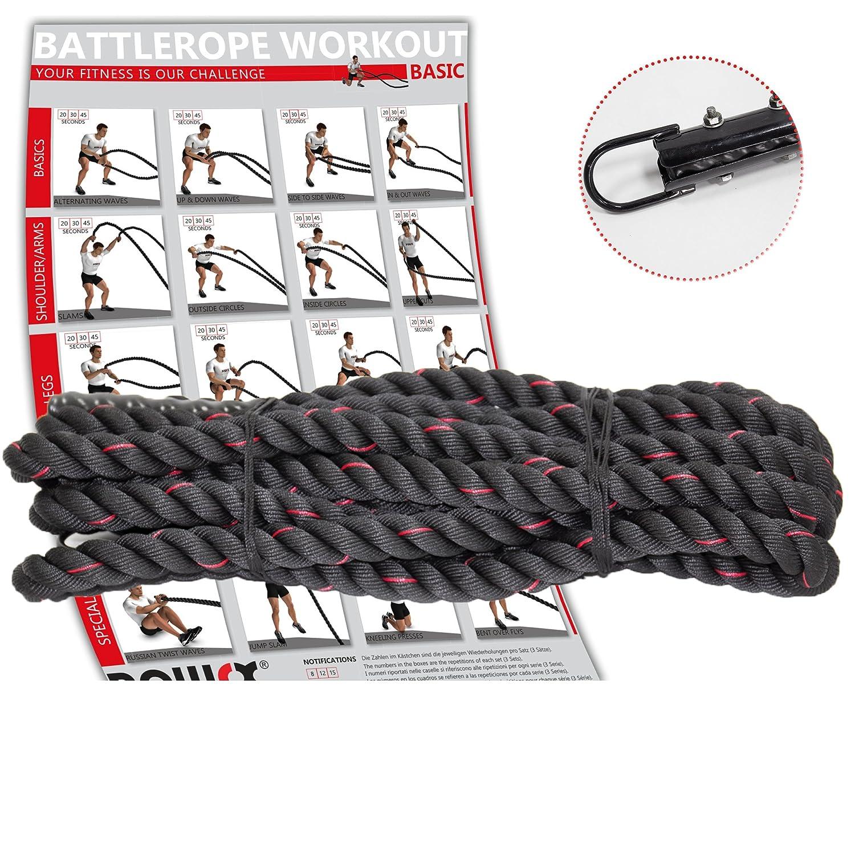 POWRX Battle Rope Schwungseil inkl. Halterung und Workout I Ø 38 mm I Trainingsseil Sportseil Schlagseil Tau Seil für Fitness Kraft Training I versch. Länge