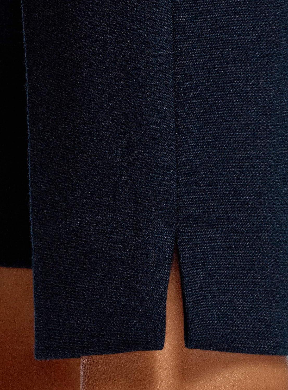 oodji Collection Femme Robe avec Fermeture /Éclair et Col en V