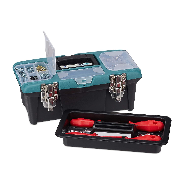 Relaxdays Bo/îte /à outils vide avec poign/ée de transport en plastique verrouillable Noir 13 x 33 x 18 cm