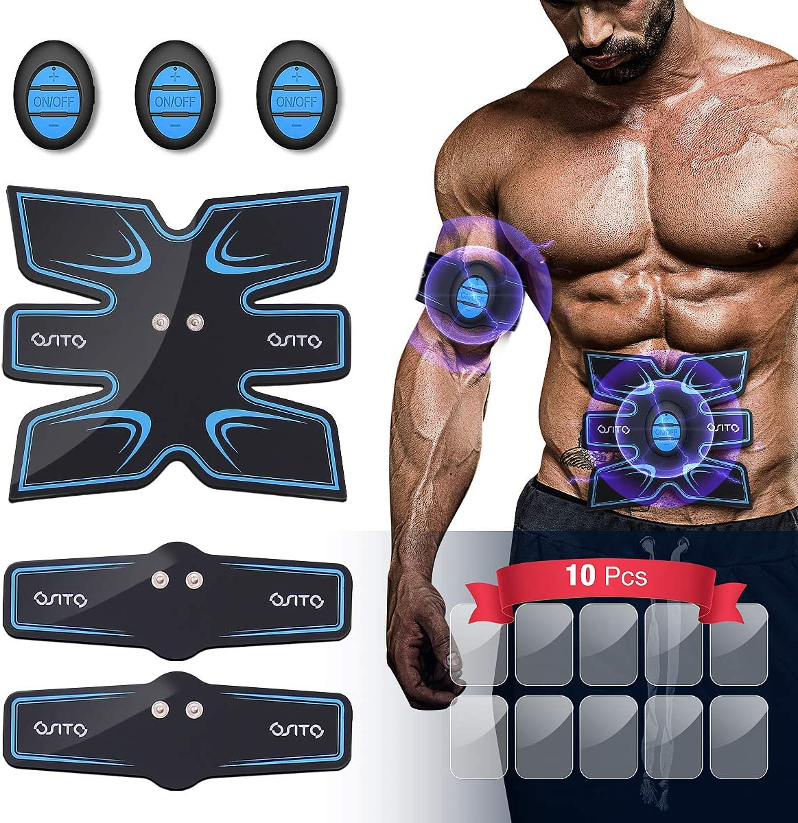 OSITO Muscle Trainer Intelligent Abs Stimulator Abdominal with 10 Extra Gel Pads, Abs Muscle Training Gear Muscle Toner for Men Women Portable Fitness Workout Home Equipment
