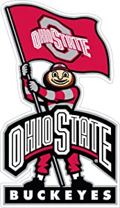Ohio State University Stickers (Any Size) NCAA Ohio State University Buckeyes with Flag Decal Vinyl for car bamper, hemlet, Laptop, tumblers (7 inch)