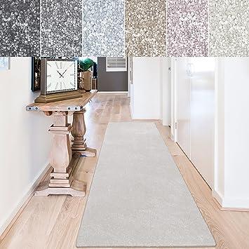 casa pura Teppich Läufer Sundae | Meterware | Teppichläufer für Wohnzimmer,  Flur, Küche usw. | kuschlig weich | mit Stufenmatten kombinierbar (Creme -  ...