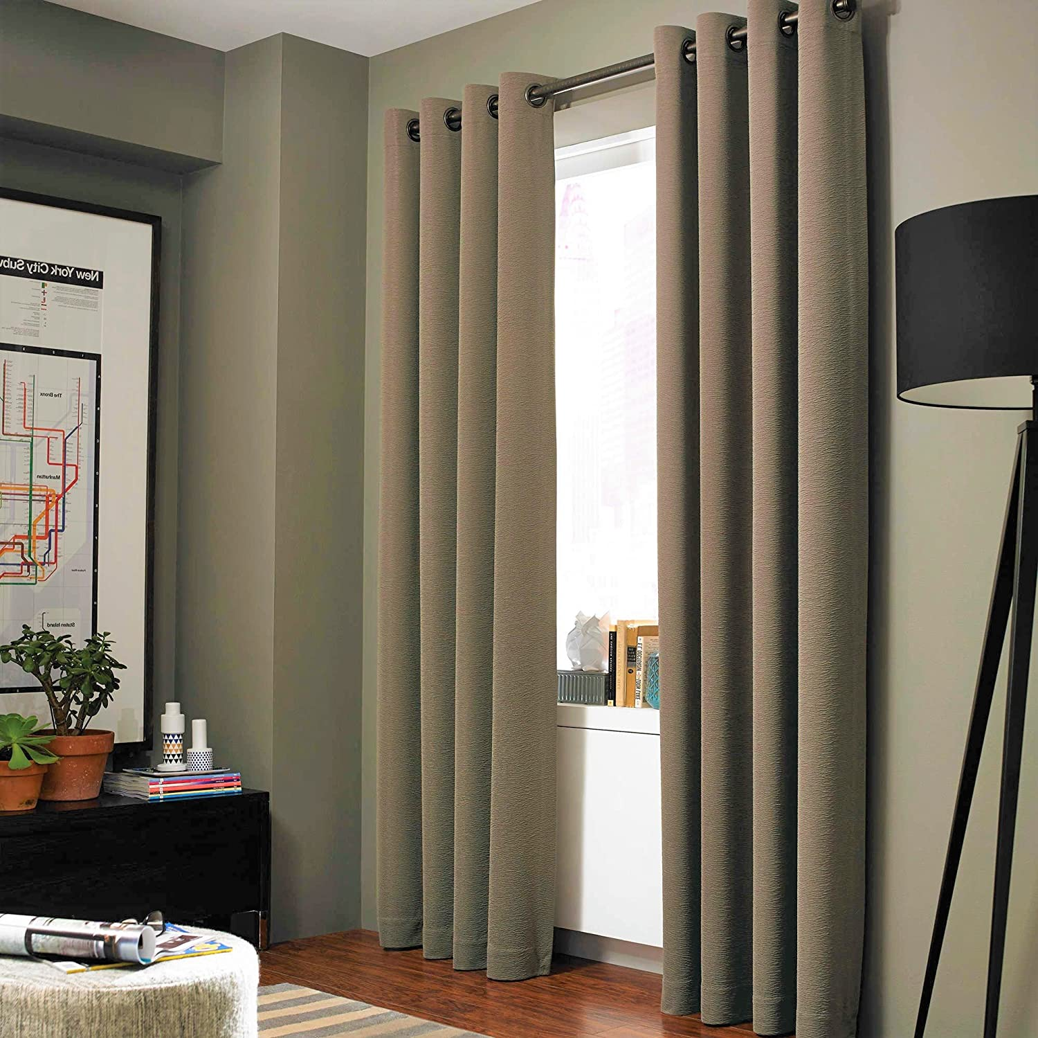 "GorgeousHomeLinen (NOA) 1 Solid Panel 100% Room Darkening Insulated Thermal Lined Blackout Window Grommets Curtain (84"" Length, Taupe TAN)"